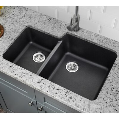 20.75 x 33 Quartz Double Bowl Kitchen Sink Finish: Onyx Black