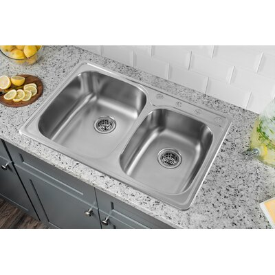 33 x 22 Drop In Double Bowl Kitchen Sink