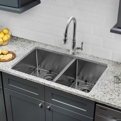 32 x 19 60/40 Undermount Stainless Steel Kitchen Sink with Faucet