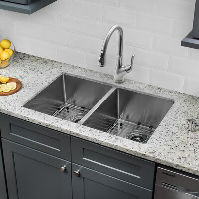 32 x 19 50/50 Undermount Stainless Steel Kitchen Sink with Faucet