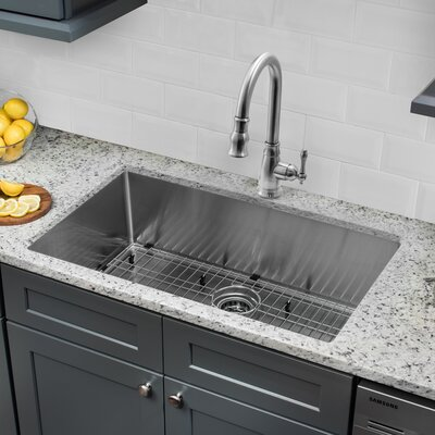 Radius 16 Gauge Stainless Steel 32'' x 19'' Single Bowl Undermount Kitchen Sink with Faucet and Soap Dispenser Faucet Finish: Stainless Steel