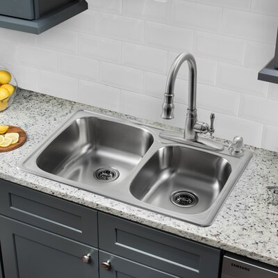 33.13 x 22 Double Bowl Drop-In Kitchen Sink with Faucet