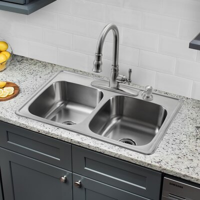 33 x 22 Double Bowl Drop-In Stainless Steel Kitchen Sink with Faucet