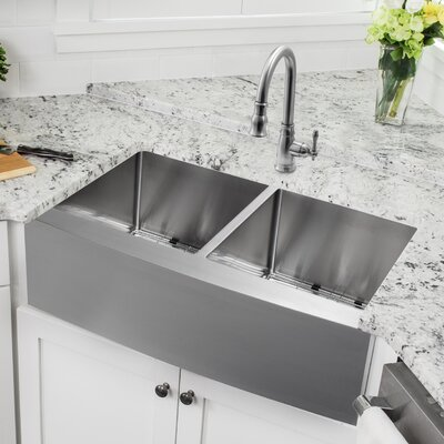 32.88 x 20.75 Apron Front 50/50 Undermount Stainless Steel Kitchen Sink with Faucet Faucet Finish: Stainless Steel