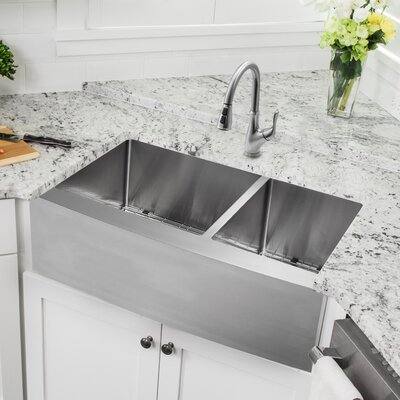 33 x 20.75 Apron Front Double Bowl Undermount Kitchen Sink with Faucet