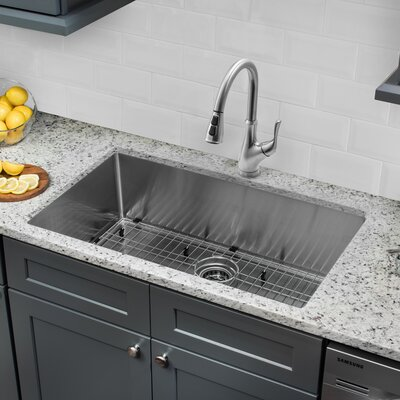32 x 19 Single Bowl Radius Undermount Stainless Steel Kitchen Sink with Faucet