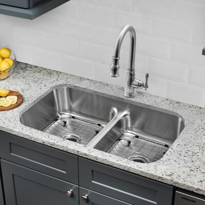 32.5 x 18.13 Double Bowl Undermount Kitchen Sink with Low Divider and Faucet