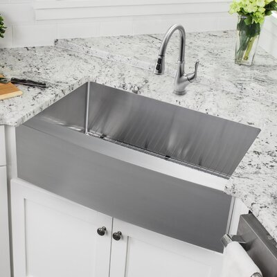 36 x 20.75 Apron Front Single Bowl Undermount Stainless Steel Kitchen Sink with Faucet Faucet Finish: Stainless Steel