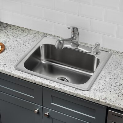 25 x 22 Single Bowl Drop-In Stainless Steel Kitchen Sink with Faucet