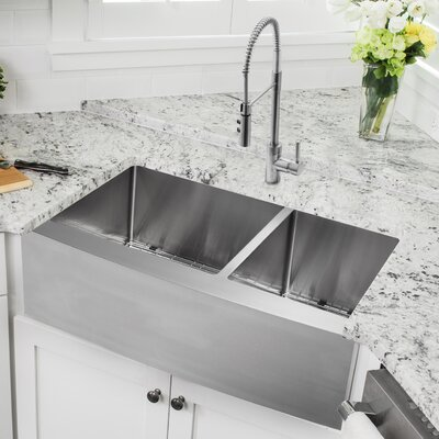 33 x 20.75 Apron Front Double Bowl Undermount Kitchen Sink with Faucet Faucet Finish: Stainless Steel