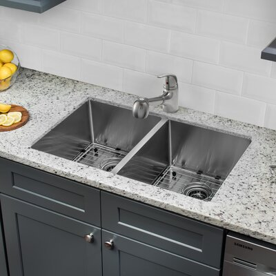 Radius 16 Gauge Stainless Steel 32 x 19  50/50 Double Bowl Undermount Kitchen Sink with Faucet and Soap Dispenser Faucet Finish: Stainless Steel