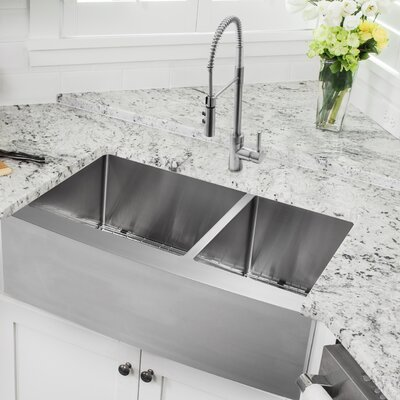 36 x 20.75 Apron Front 60/40 Double Bowl Undermount Stainless Steel Kitchen Sink with Faucet Faucet Finish: Stainless Steel