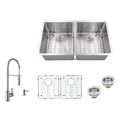 Gauge Stainless Steel Handmade 32 x 19 Double Basin Undermount Kitchen Sink with Faucet and Soap Dispenser