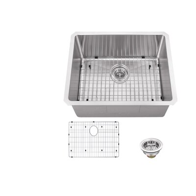 23 x 19 Stainless Steel 16 Gauge Radius Single Bowl Bar Sink