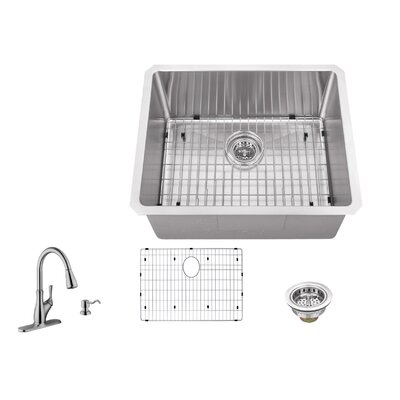 23 x 19 Single Bowl Radius Undermount Stainless Steel Bar Sink with Faucet
