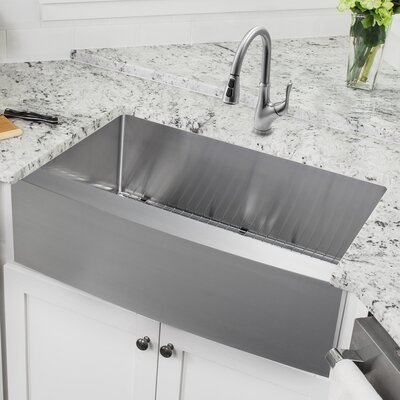32.88 x 20.57 Apron Front Single Bowl Undermount Stainless Steel Kitchen Sink with Faucet Faucet Finish: Stainless Steel