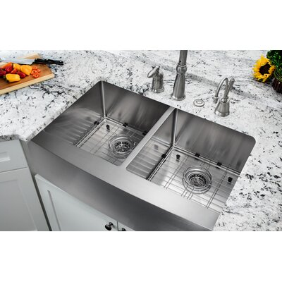 32.88 x 20.75 Apron Front 50/50 Undermount Stainless Steel Kitchen Sink with Faucet