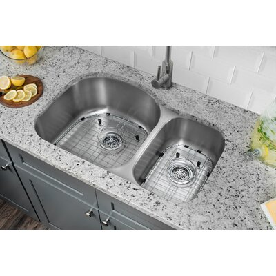 16 Gauge Stainless Steel 31.5 x 20.5 Double Basin Undermount Kitchen Sink with Gooseneck Faucet Faucet Finish: Stainless Steel