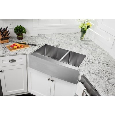 16 Gauge Stainless Steel 32.88 x 20.75 Double Basin Farmhouse/Apron 60/40 Kitchen Sink with Gooseneck Faucet Faucet Finish: Stainless Steel