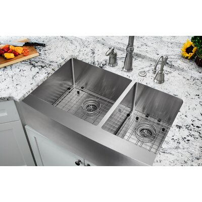 16 Gauge Stainless Steel 35.88 x 20.75 Double Basin Farmhouse/Apron 60/40 Kitchen Sink with Gooseneck Faucet Faucet Finish: Stainless Steel
