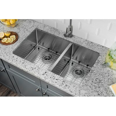 Radius 16 Gauge Stainless Steel 32 x 19 60/40 Double Bowl Undermount Kitchen Sink with Gooseneck Faucet Faucet Finish: Stainless Steel