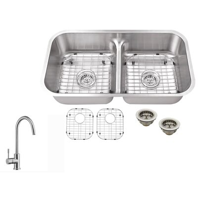 18 Gauge Stainless Steel 32.5 x 18.13 Double Basin Undermount Kitchen Sink with Gooseneck Faucet