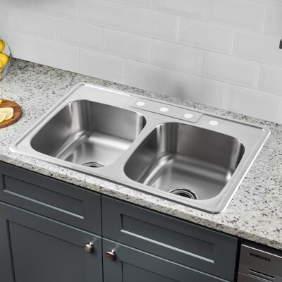 20 Gauge Stainless Steel 33 x 22 Double Basin Undermount Kitchen Sink with Gooseneck Faucet