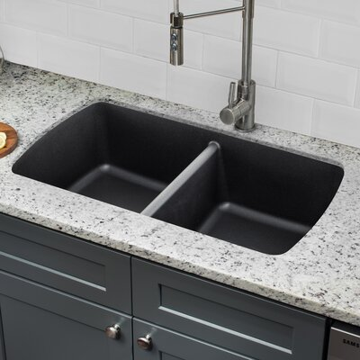 Quartz 33.75 x 18.94 Double Basin Undermount Kitchen Sink with Twist and Lock Strainer Finish: Onyx Black