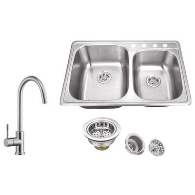 20 Gauge Stainless Steel 33.13 x 22 Double Basin Drop-In Kitchen Sink with Gooseneck Faucet Faucet Finish: Stainless Steel