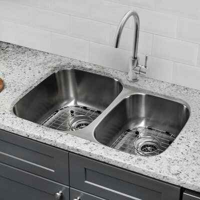 18 Gauge Stainless Steel 32 x 20.75 Double Basin Undermount Kitchen Sink with Gooseneck Faucet