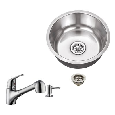18 Gauge Stainless Steel 17.13 x 17.13 Undermount Bar Sink with Low Profile Pull Out Faucet