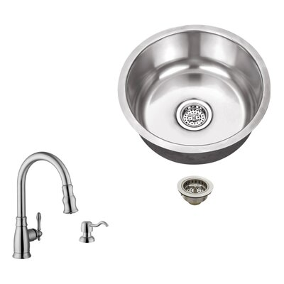 18 Gauge Stainless Steel 17.13 x 17.13 Undermount Bar Sink with Arc Faucet