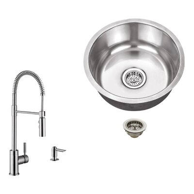 18 Gauge Stainless Steel 17.13 x 17.13 Undermount Bar Sink with Pull Out Faucet and Soap Dispenser