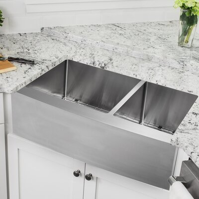 16 Gauge Stainless Steel 35.88 x 20.75 Double Basin Farmhouse/Apron 60/40 Kitchen Sink with Gooseneck Faucet