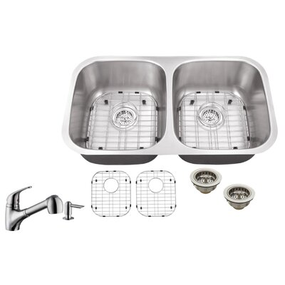 18 Gauge Stainless Steel 29.13 x 18.5 Double Basin Undermount Kitchen Sink with Low Profile Pull Out Faucet