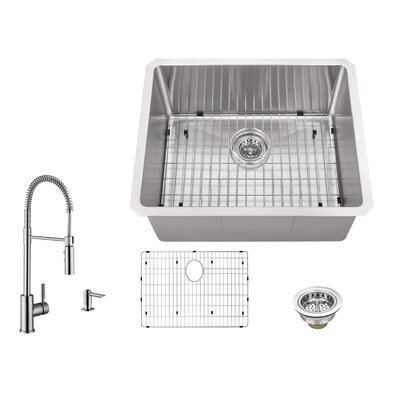 16 Gauge Stainless Steel 23 x 19 Undermount Bar Sink with Pull Out Faucet and Soap Dispenser