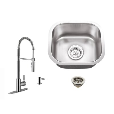 18 Gauge Stainless Steel 14.5 x 13 Undermount Bar Sink with Pull Out Faucet and Soap Dispenser