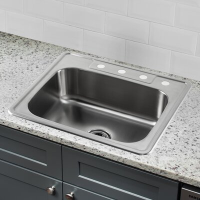 20 Gauge Stainless Steel 25 x 22 Drop-In Kitchen Sink with Pull Out Faucet and Soap Dispenser