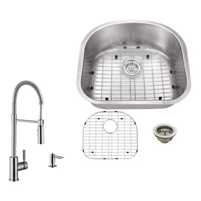 16 Gauge Stainless Steel 23.25 x 20.88 Undermount Kitchen Sink with Pull Out Faucet and Soap Dispenser