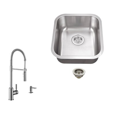 18 Gauge Stainless Steel 18 x 16.13 Undermount Bar Sink with Pull Out Faucet and Soap Dispenser