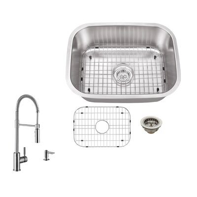 18 Gauge Stainless Steel 23.44 x 17.75 Undermount Bar Sink with Pull Out Faucet and Soap Dispenser