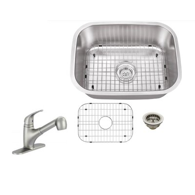 16 Gauge Stainless Steel 23.44 x 17.75 Undermount Bar Sink with Low Profile Pull Out Faucet Faucet Finish: Stainless Steel