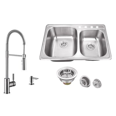 20 Gauge Stainless Steel 33.13 x 22 Double Basin Drop-In Kitchen Sink with Pull Out Faucet and Soap Dispenser Faucet Finish: Stainless Steel