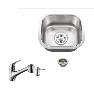 18 Gauge Stainless Steel 14.5 x 13 Undermount Bar Sink with Low Profile Pull Out Faucet