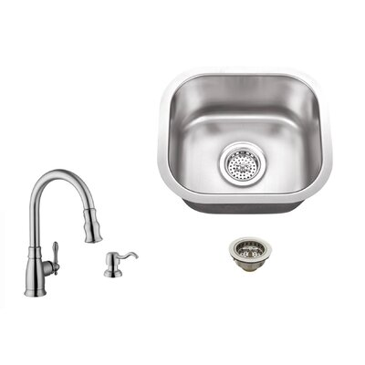 18 Gauge Stainless Steel 14.5 x 13 Undermount Bar Sink with Arc Faucet