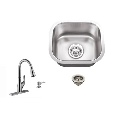 18 Gauge Stainless Steel 14.5 x 13 Undermount Bar Sink with Gooseneck Faucet