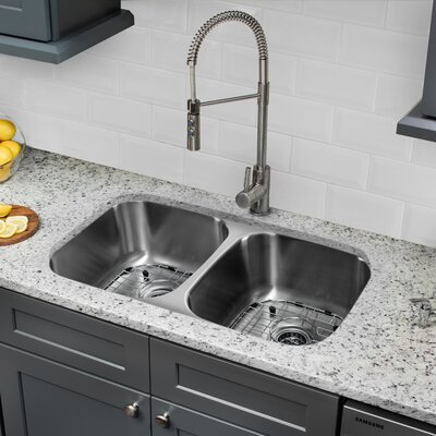 18 Gauge Stainless Steel 29.13 x 18.5 Double Basin Undermount Kitchen Sink with Pull Out Faucet with Soap Dispenser