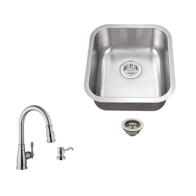 18 Gauge Stainless Steel 18 x 16.13 Undermount Bar Sink with Arc Faucet