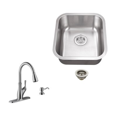 18 Gauge Stainless Steel 18 x 16.13 Undermount Bar Sink with Gooseneck Faucet Faucet Finish: Stainless Steel