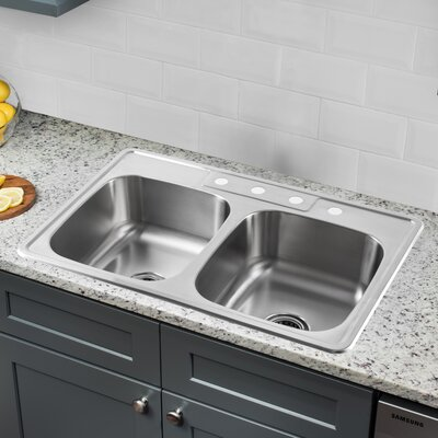 20 Gauge Stainless Steel 33 x 22 Double Basin Drop-In Kitchen Sink with Drain Assembly